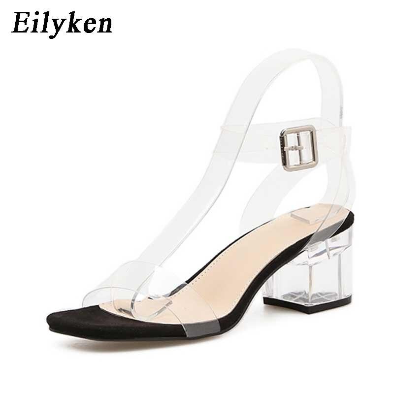 Eilyken 2019 PVC Jelly Sandals Crystal Leopard Open Toed High Heels Women Transparent Heel Sandals Slippers Square heel zapatos