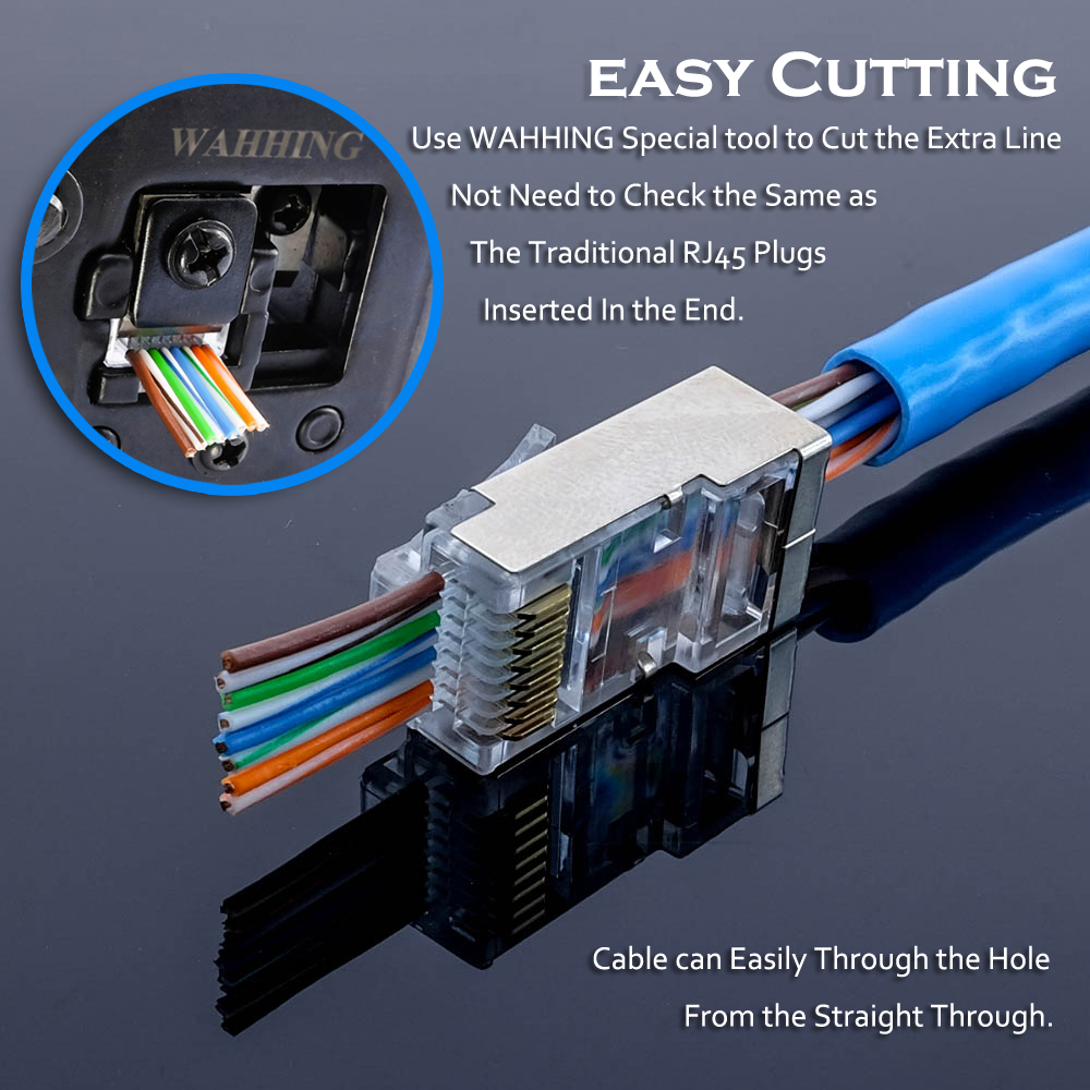 50 100pcs Rj45 Connector Cat5 Cat5e Network 8p8c Metal Wiring Connectors Shielded Modular Plug Terminals Have Hole Hy1550 In Computer Cables From