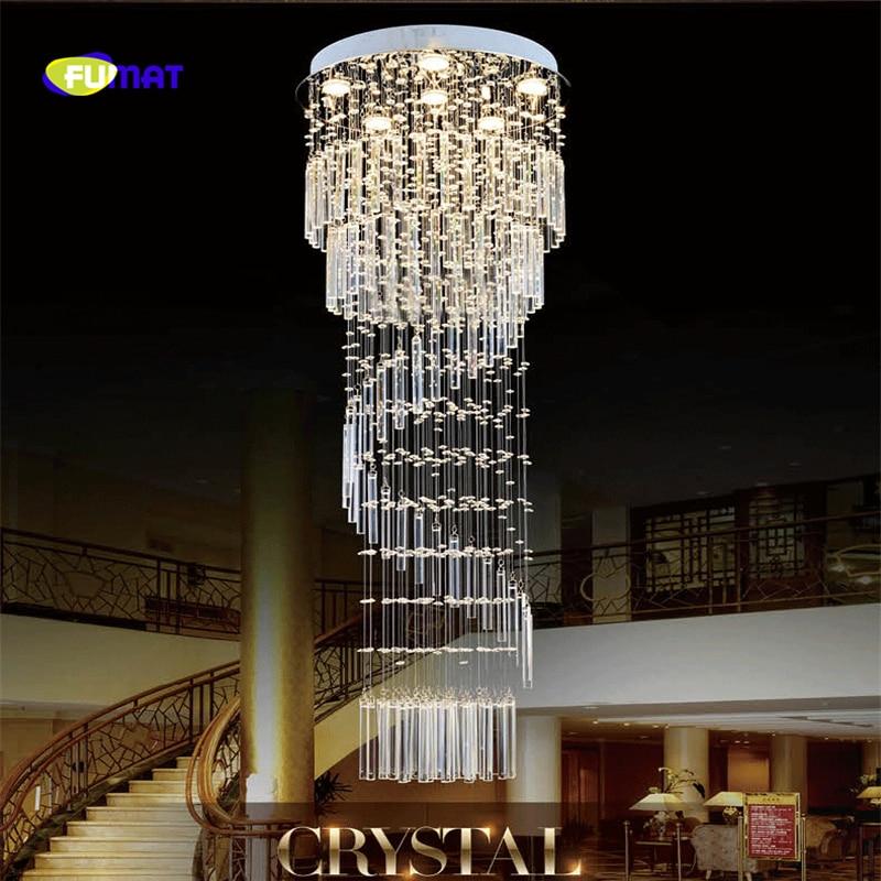 Modern Staircase K9 Crystal Chandelier Spiral Stair Lamp  Lustre Suspension Light LED Chrome Finished Crystal Light Fixture