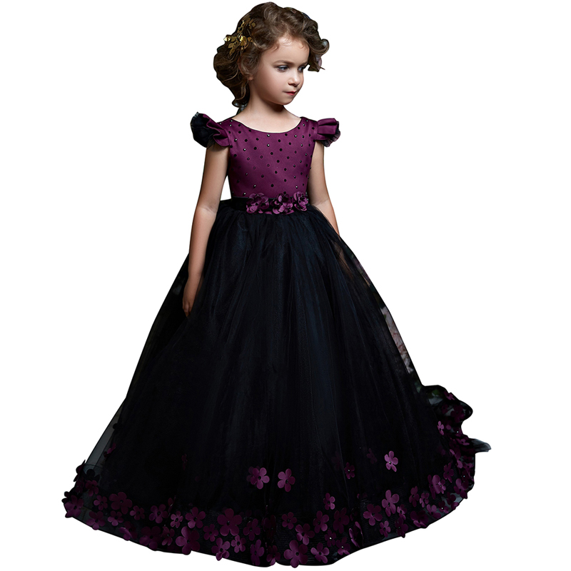 цены fancy little girls dress long puffy kids ball gown vestido de fiesta nina menina robe petite fille beautiful dress for girls