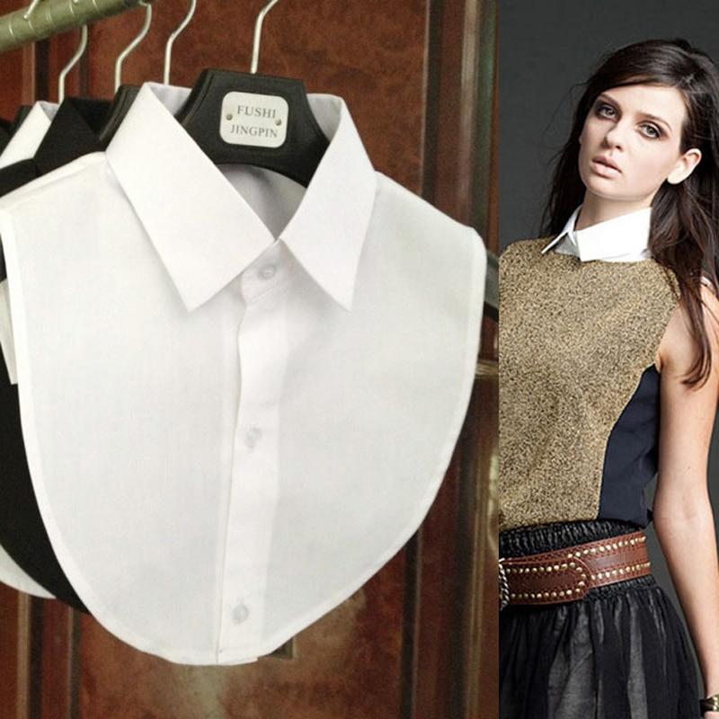Jaderic 2018 New Fashion Falsk krage vit och svart blus avtagbar krage