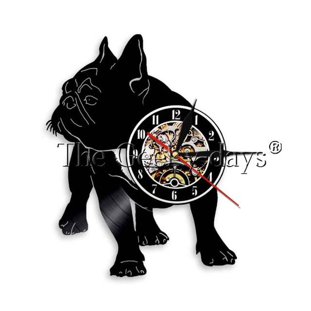 902389b7f30 1 peça Buldogue Francês Dog Disco de Vinil Relógio de Parede Relógio de  Parede Pet Frenchie