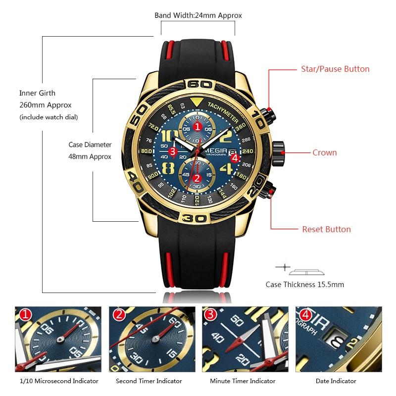 Megir Sports Watch Men Top Brand Luxury Chronograph Quartz Wrist Watches Silicone Bracelet Military Relogio Masculino Clock 2045 in Quartz Watches from Watches