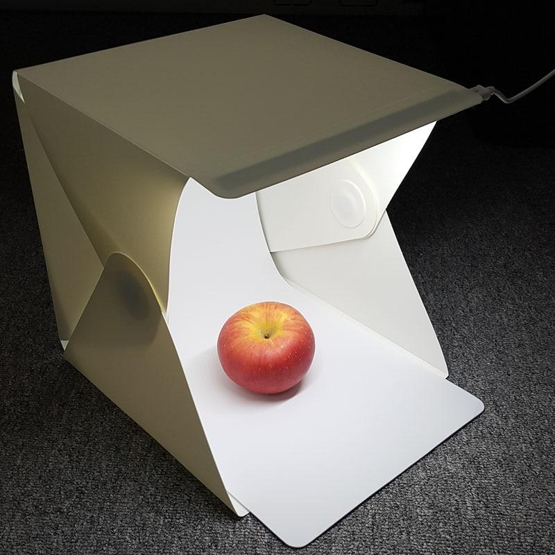 (23x23x23cm) Mini Folding Studio Diffuse Soft Box With LED Light Black White Background Photo Studio Accessories