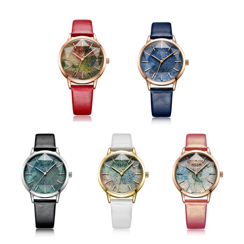 Julius Multicolor Starry Sky Big Dial Waterproof Quartz Watches Woman Casual Leather Student Wristwatches Montre Femme Gifts Multan