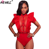 ADEWEL Ruffle Buttoned Mesh Bodycon Sexy Women Bodysuit Stretchy Short Sleeve Red Bla Club Jumpsuit Elegant