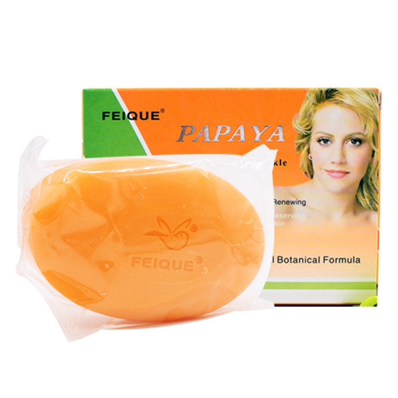 130g per pcs Feique All-natural Botanical Formula Papaya Whitening Anti-freckle Renewing Soap Face Skin Care Product