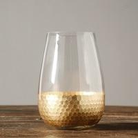 Europe Glass Vase Golden Fish Scales Tabletop Vase Home Garden Decor transparent water glass Vases