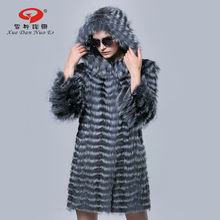 Women fur coat for winter  silver fox fur strip coats with caps medium long outerwear for lady 2016 new Russian fashion jacket
