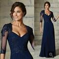Azul marinho 2017 Mãe Da Noiva Vestidos A Linha Cap Mangas Apliques de Renda Vestidos de Noite Longos Vestidos Mãe Para O Casamento
