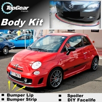 Bumper Lip Deflector Lips For Fiat Abarth 500 500C Front Spoiler Skirt For TopGear Friends Car View Tuning / Body Kit / Strip
