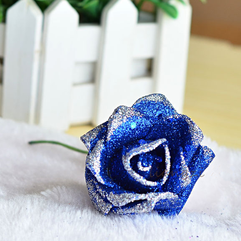 single branch blue enchantress artificial roses glitter flowers, Ideas