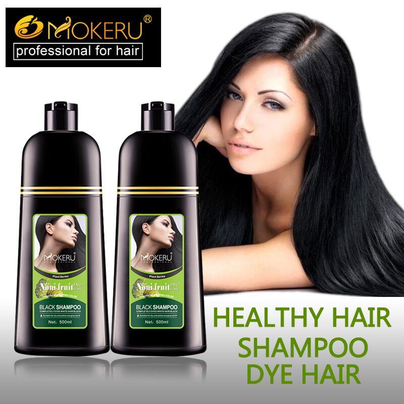 Details about 2PCS 500ML Natural Hair Color Shampoo Black Hair Dye Shampoo  For White Grey Hair