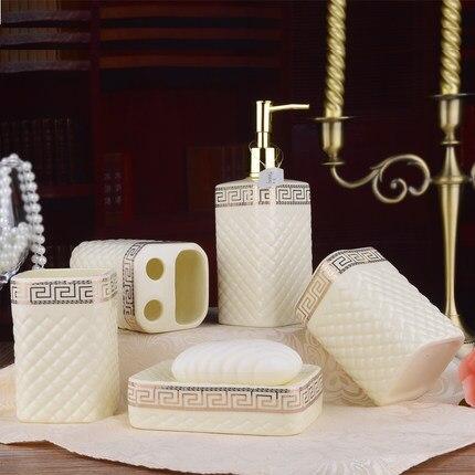 Houmaid accessoires de salle de bain de style européen ensemble en céramique porte-savon porte-dents tasse de brossage