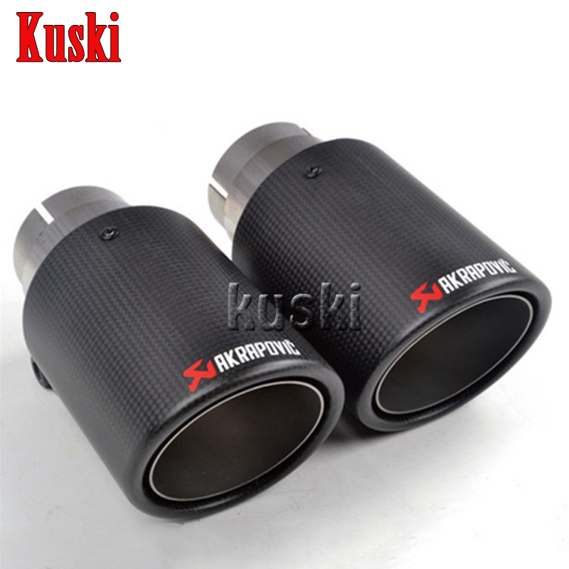 1X Customizable Akrapovic Carbon Fiber Exhaust Tip/Muffler End Pipes Car Cover For BMW VW Golf 7 Audi Mazda Honda Accessories car styling one pair id 60mm od 101mm akrapovic carbon fiber exhaust tip muffler end pipes for bmw vw golf 7 mazda accessories