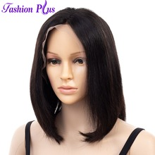 Short Straight  Lace Front Human Hair Bob Wigs Peruvian 100% Remy Hair Wigs Pre-Plucked Bleached Knots  For Woman Free Shippin