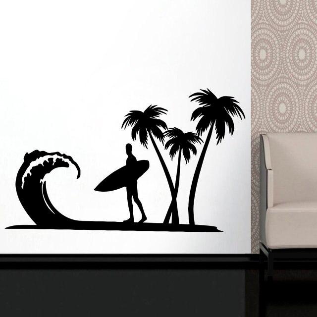 Autocollant mural en vinyle 2CL14 avec Logo palmier, sports extrêmes, amateurs daventure, océan, bord de mer, décoration pour la maison, pour une école