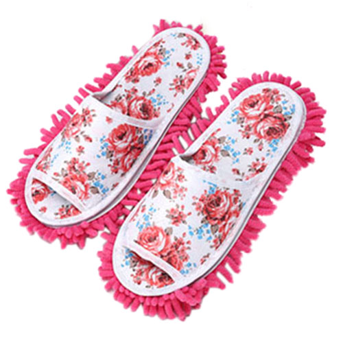 HOT GCZW-Women Dust Mop Slippers Socks House Slippers Bedroom Shoes cleaning tool Rose Red