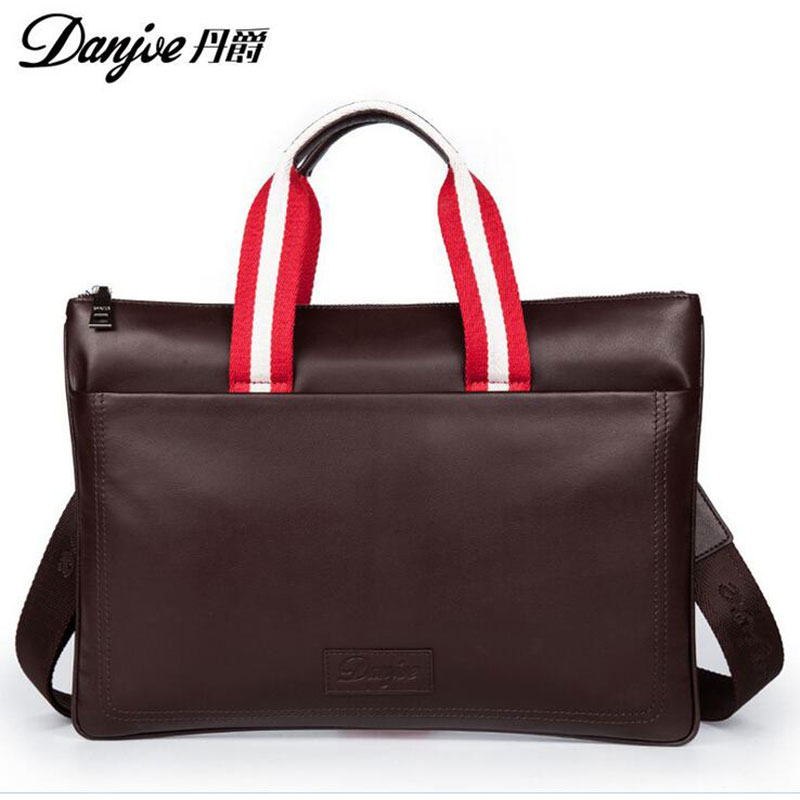 DANJUE New Style For iPad/Macbook Fashion Shoulder Bags High Quality Genuine Cowhide Solid men Notebook bag DJ17