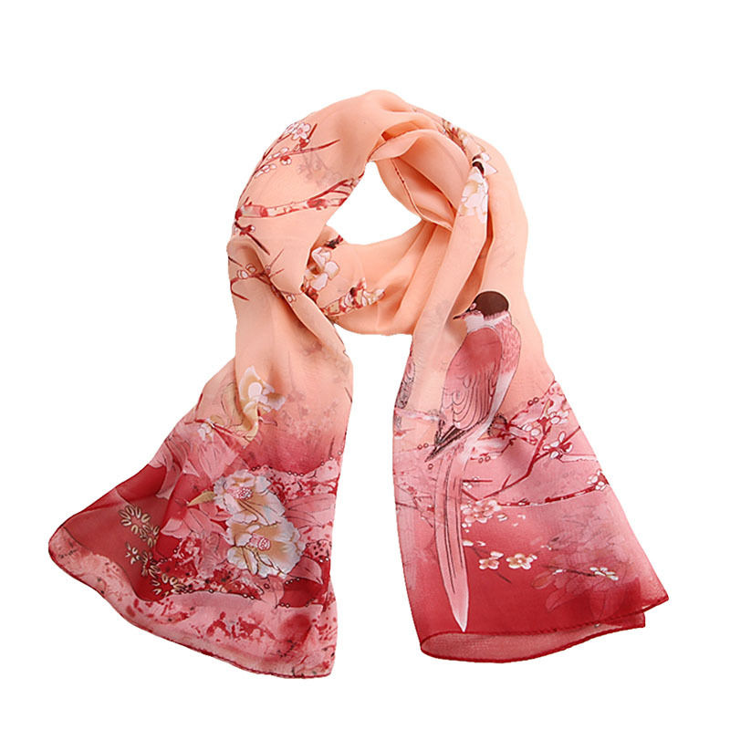 Women Vintage Chinese Style Pretty Print Long Soft Chiffon   Scarf     Wrap   Shawl Stole   Scarves   Hot
