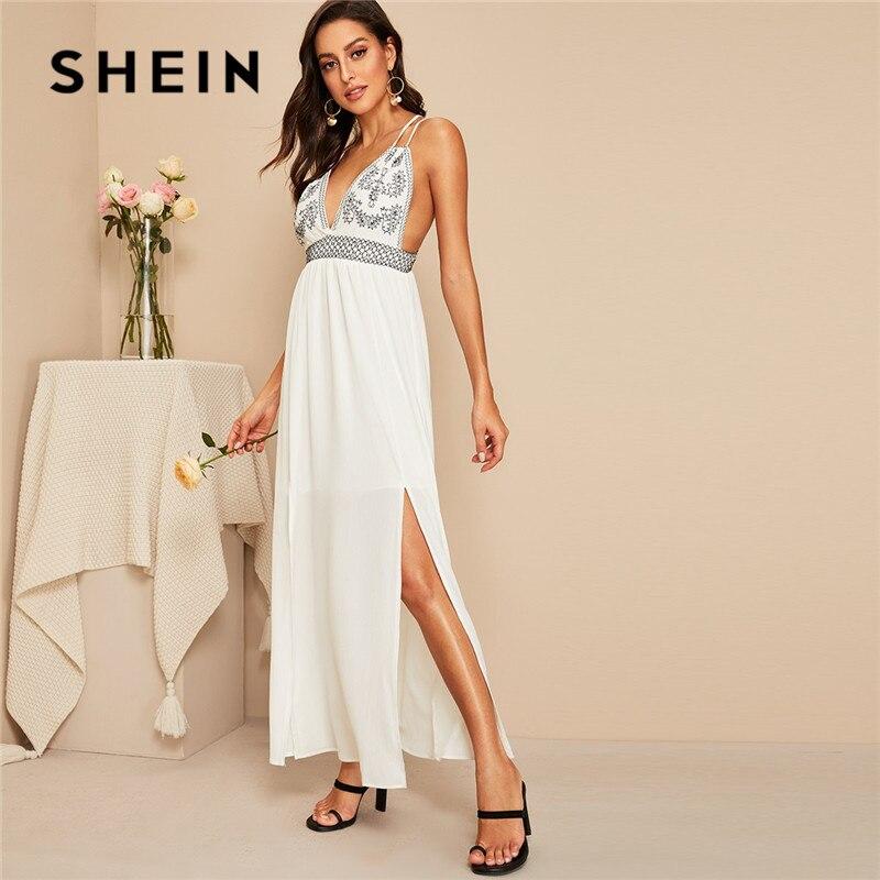 SHEIN Criss-Cross Backless подол с разрезом глубокий v-образный вырез Slip Maxi платье женское летнее белое без рукавов с высокой талией A Line сексуальное пла...