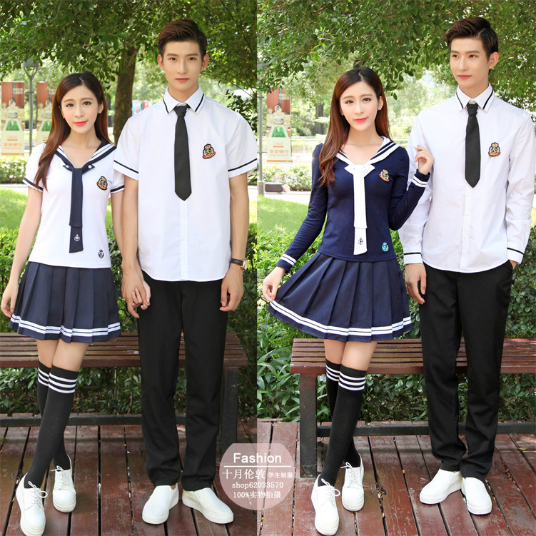 Boy and girl XS-5XL School Uniforms Sailor Uniforms T-shirt +Skirt Piece Fitted Sexy Girls Plus Size Japanese Cosplay Anime Wear Комедон