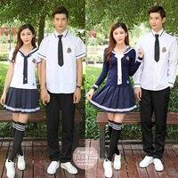 Jongen en meisje XS-5XL Schooluniformen Sailor Uniformen T-shirt + Rok Stuk Voorzien Sexy Meisjes Plus Size Japanse Cosplay Anime dragen