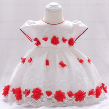Cute Flower Baby Dress Girl Christening Clothes New White Embroidery Infant Birthday Wedding Party Dresses Newborn baby dress toddler girl princess wedding dress first birthday newborn party dresses lace baby christening infant clothes