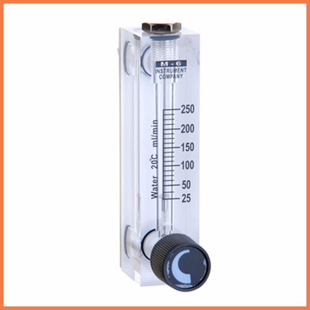 LZT-6T 25-250 ml/min Square Panel Type Liquid Flowmeter Air Flow Meter rotameter LZT6T Tools Flow Measuring lzm 6t 2 20lpm 4 40scfh panel type acrylic flowmeter flow meter with adjust valve bass fitting female g1 4 male m18 1 5