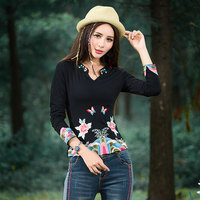 Ethnic T Shirt 2016 Women School Girl Autumn Design Black Red Heavy Embroidery Pattern Shirt Traditional