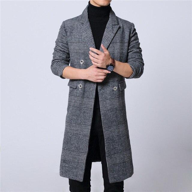 Mens long coat winter woolen melton overcoat plaid gray double breast full lining long sleeve M-6XL 18NovW4 drop ship pick lapel