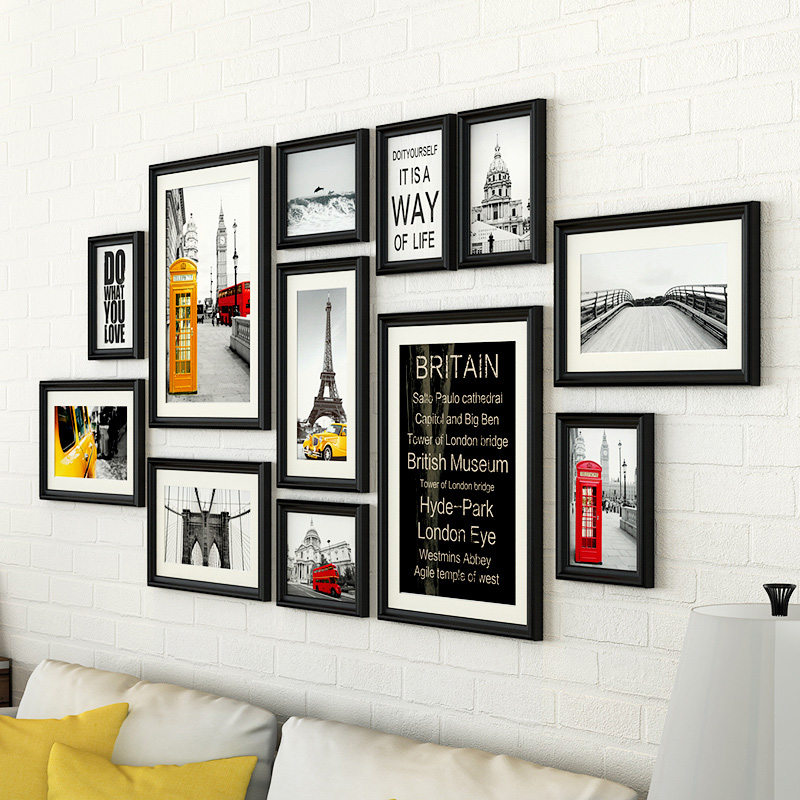 12 pcsset with black wall photo frames setsvintage photo framelarge size photo frames for picturecollage wood picture frame
