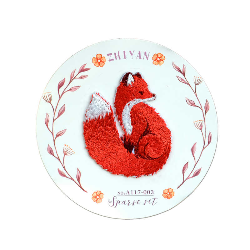 1Pc Animal Red Fox Patches Kleding Borduren Mode Kleding Stickers Stijl Applique Sticker Diy Cartoon Kleding Accessoires