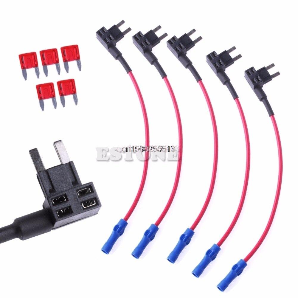 5 Unids Fusible MINI Adaptador de Cable del Circuito Fusible Tap Holder ATM Disp