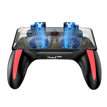 Double Cooler Radiating Gamepad For Pubg Mobile Controller For Iphone Android L1r1 Pubg Joystick With Dual Cooler Cooling Fan Leather Bag
