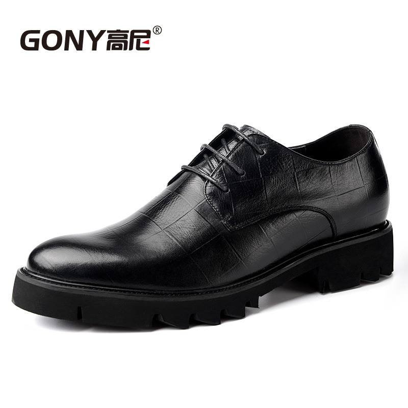 Newest 2018 Mens 100% Genuine Leather Dress Oxfords Height Increasing Elevated Shoes Grow Taller 7CM for Men Wedding Party