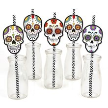 metable - Set of 24 Paper Straw Decor Halloween Sugar Skull Party Striped Decorative Straws