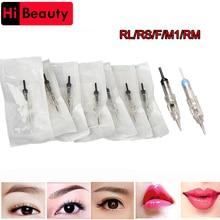 60pcs lot Disposable Sterilized Permanent Lip Eyebrow Makeup Bayonet Small Motor Goochie M8 Tattoo Needles Cartridge