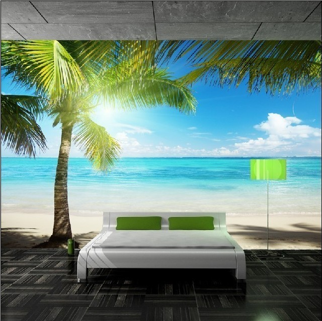 The Best!Modern style Coconut for Palm Beach Mural Tv Setting Wall ...