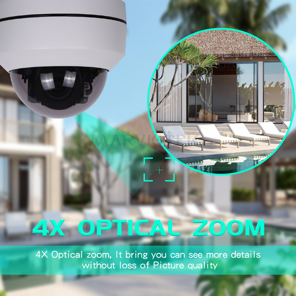 Mini Camera HD 5MP Waterproof Home Security PTZ IP Dome Camera Outdoor 4X Optical Zoom Network PTZ CCTV IP Camera Outdoor P2P IR