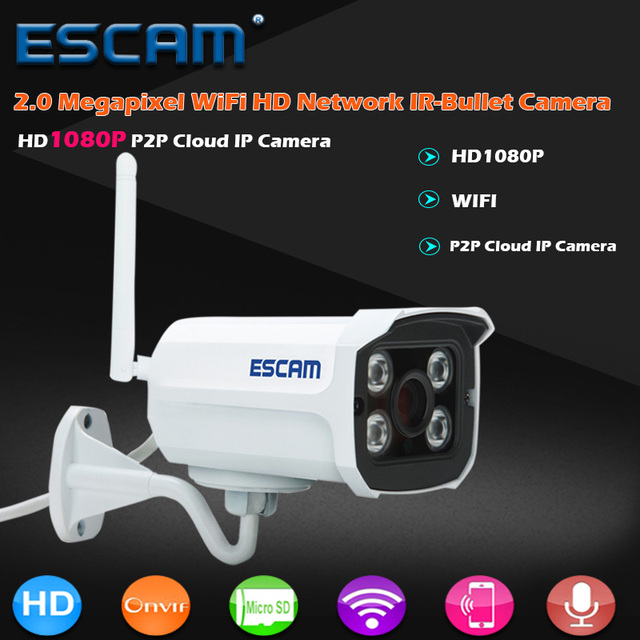 Escam qd900 wifi ip cámara de 2mp hd 1080 p red de infrarrojos bala ip66 onvif impermeable al aire libre cámara cctv inalámbrica