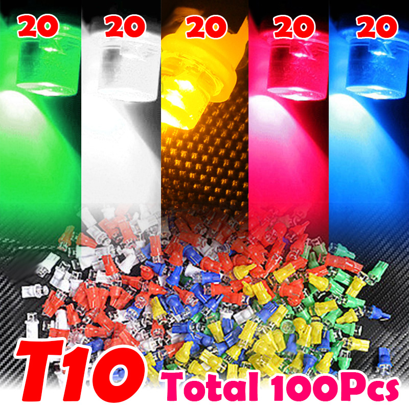 100Pcs/Set T10 194 168 W5W Car LED Light Colorful Lamp Bulb DC 12V White + Blue + Red + Yellow + Green Lights 4 x w5w t10 car led bulb 20smd 2835 168 194 side marker lights map turn signal lamp white blue yellow amber green ice blue red