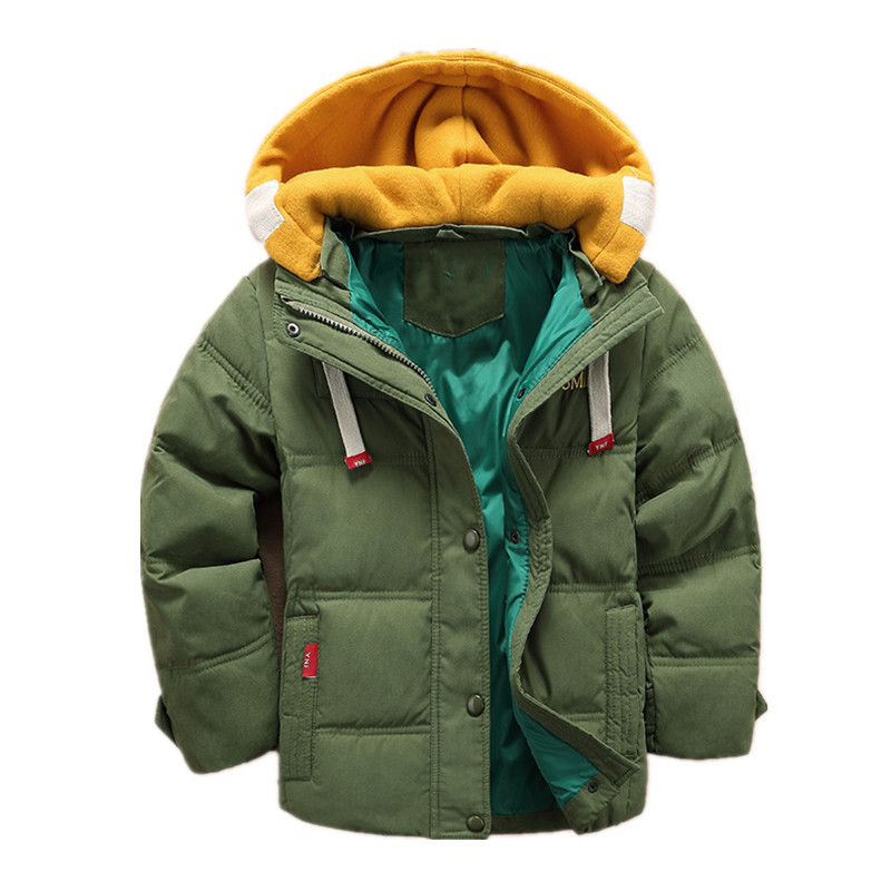 Winter Children Boys Down Coat Fashion Hooded Thick Solid Warm Jacket Coat Winter Clothes Outwear Coat