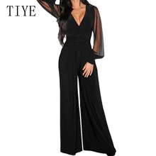 TIYE Sexy Black Perspective Mesh Patchwork Long Sleeve V Neck Jumpsuit Casual High Waist Romper Elegant Women Party Playsuits