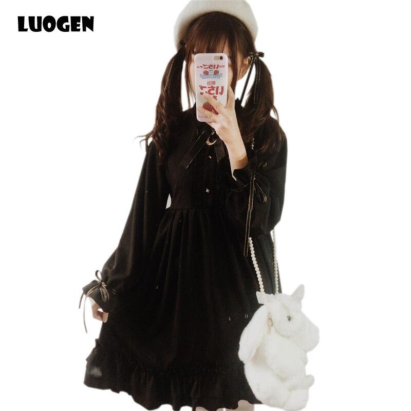 2018 New Arrival Gothic Vintage Mini Dress Ladies Cute Long Sleeve Linen Ruffle Dress Womens Autumn Dresses