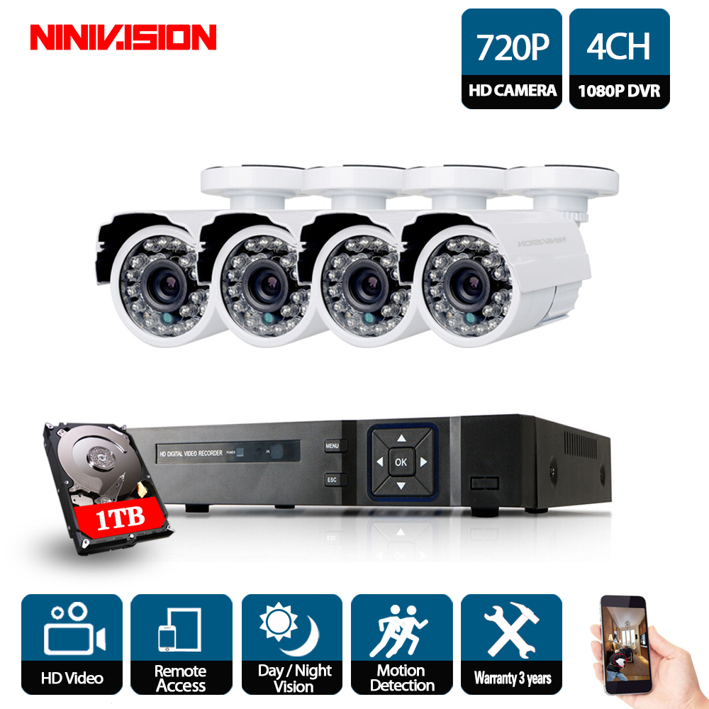 все цены на 4CH 1080P AHD DVR Kit CCTV Camera System 4PCS Outdoor Home Security 1080P 2MP Camera P2P Video Surveillance System Set