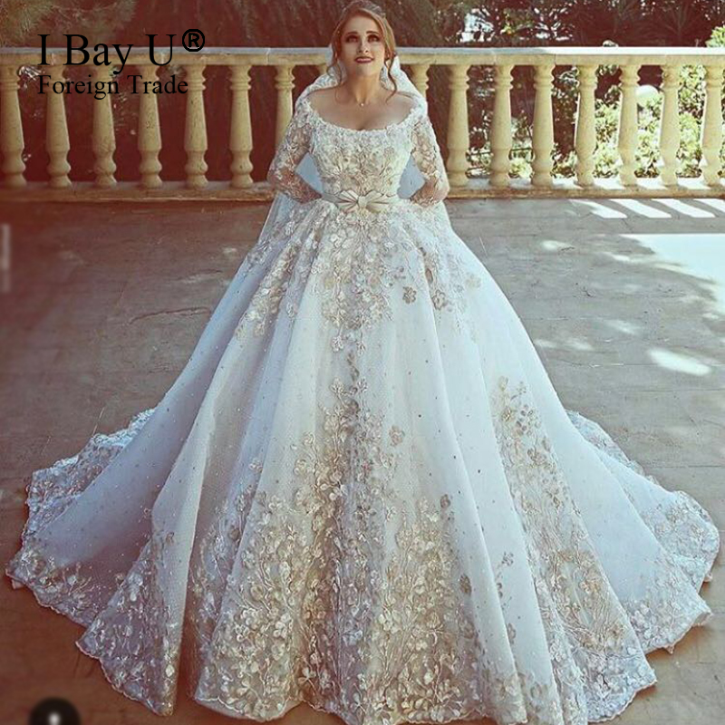 ea8463cfe66 Top Customized Big Train Arab Wedding Dresses 2017 Luxury Lace Puffy Train  Arabic Girl Ball Gown Wedding Gowns Mariage Robe
