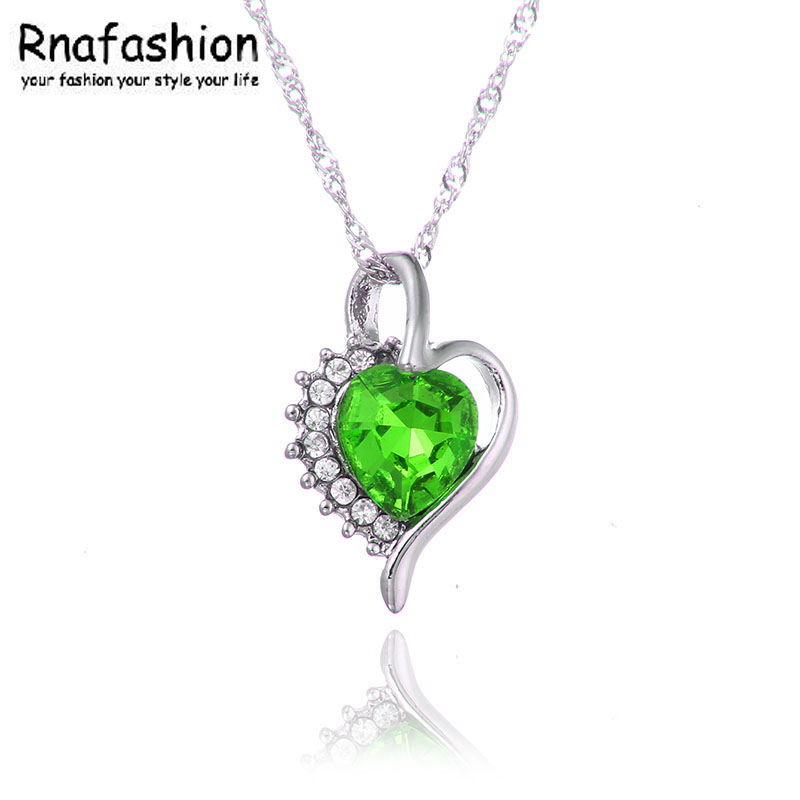 8c68f8f39b8 Fashion Jewellery Silver Plated Crystal Heart Shape Love Fashion Necklaces  Colar Costume Jewelry for Women