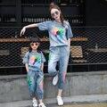 2016 moda de verão da família moda plus size roupas para a mãe e filha 100% de impressão do algodão denim conjunto ocasional