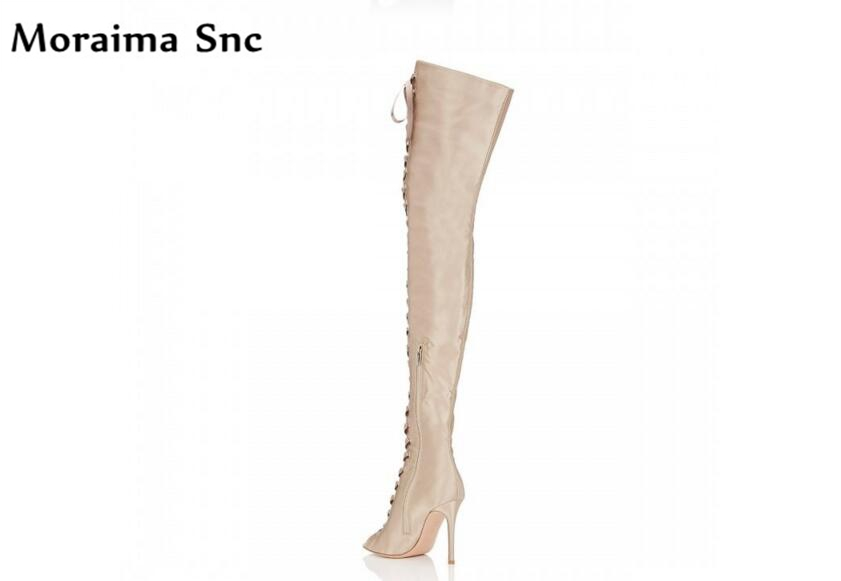 Moraima Snc silk vamp Spring Autumn riding boots high heel cut-out peep toe lace up fashion women boots over-the-knee long boots